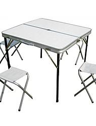 Недорогие -Складной столик для кемпинга со стульями Складной Алюминиевый сплав 4 табуретки 1 стол для 3-4 человека Походы Осень Весна Серебряный