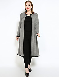 cheap -Women's Daily / Holiday Vintage / Street chic Fall / Winter Plus Size Long Trench Coat, Color Block Round Neck Long Sleeve Cotton / Rayon / Polyester Patchwork Dark Gray / Light gray