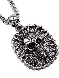 cheap -Men's Pendant Necklace Chain Necklace Skull Rock Gothic Alloy Silver Necklace Jewelry One-piece Suit For Halloween Club