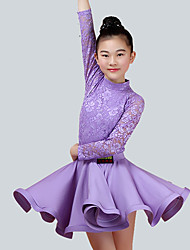 cheap -Kids' Dancewear Outfits Performance Nylon Lace Long Sleeves Natural Skirts Top