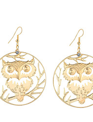 cheap -Women's Drop Earrings Dangle Earrings Owl Statement Fashion Silver Plated Gold Plated Earrings Jewelry Gold / Silver For Daily Evening Party 2pcs