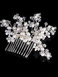 cheap -Imitation Pearl / Beads / Copper wire Hair Combs / Hair Stick with Imitation Pearl / Crystals 1pc Wedding Headpiece