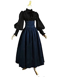 cheap -Outfits Victorian Vintage Inspired Dress Blouse / Shirt Women's Girls' Cotton Costume Blue / Black Vintage Cosplay Long Sleeve Ankle Length Plus Size Customized