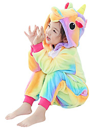 cheap -Kid's Kigurumi Pajamas Unicorn Flying Horse Pony Onesie Pajamas Flannel Fabric Yellow Cosplay For Boys and Girls Animal Sleepwear Cartoon Festival / Holiday Costumes / Leotard / Onesie