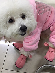 cheap -Cat Dog Boots / Shoes Animals Casual / Daily Keep Warm Solid Colored Animal Brown Pink For Pets / Winter