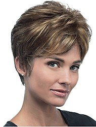cheap -Synthetic Wig Straight Straight Pixie Cut Wig Short Brown Synthetic Hair Women's Highlighted / Balayage Hair Brown StrongBeauty