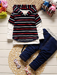 cheap -Toddler Boys' Casual Active Daily Going out Striped Cartoon Long Sleeve Regular Regular Clothing Set Yellow / Cute