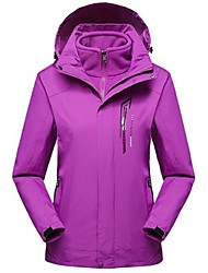 cheap -Women's Hiking 3-in-1 Jackets Winter Outdoor Windproof 3-in-1 Jacket Winter Jacket Top Full Length Visible Zipper Camping / Hiking Ski / Snowboard Climbing Purple / Fuchsia Hiking Jackets Camping