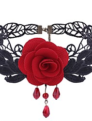 cheap -Women's Synthetic Amethyst Choker Necklace Flower Ladies Gothic Sweet Fashion Lace Cloth Alloy Black Red Necklace Jewelry One-piece Suit For Daily Cosplay Costumes
