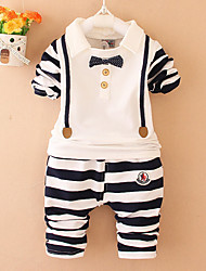 cheap -Toddler Boys' Casual Active Daily Going out Striped Cartoon Long Sleeve Regular Regular Cotton Clothing Set Black / Cute