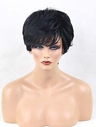 cheap -Human Hair Wig Short Natural Wave Layered Haircut Natural Wave Side Part Machine Made Women's Black#1B Medium Auburn Beige Blonde / Bleached Blonde 10 inch