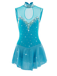 cheap -21Grams Figure Skating Dress Women's Girls' Ice Skating Dress LightBlue Spandex Elastane Athletic Competition Skating Wear Handmade Jeweled Rhinestone Sleeveless Skating