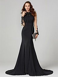 cheap -Mermaid / Trumpet High Neck Floor Length Lace / Jersey Cocktail Party / Formal Evening / Holiday Dress with Bow(s) / Buttons / Sash / Ribbon 2020 / Illusion Sleeve