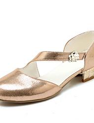 cheap -Women's Heels Round Toe Rhinestone PU Basic Pump / Light Soles Spring / Summer Gold / Silver / Party & Evening