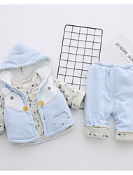 cheap -Infant Girls' Casual Daily Holiday Print Long Sleeve Cotton Clothing Set Blue