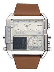 cheap -Men's Wrist Watch Digital Watch Japanese Quartz Genuine Leather Black / Brown Calendar / date / day Chronograph Luminous Analog - Digital Classic Casual Fashion Cool fancy - Black Brown Two Years