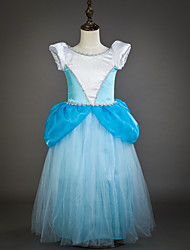cheap -Princess Cinderella Fairytale Dress Party Costume Kid's Ball Gown Slip Mesh Birthday Christmas Masquerade Festival / Holiday Tulle Blue Carnival Costumes Color Block Adorable