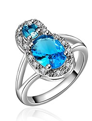 cheap -Women's Band Ring Cubic Zirconia Synthetic Sapphire High End Crystal One-piece Suit Blue Zircon Gold Plated Circle Classic Vintage Fashion Wedding Engagement Jewelry Halo Drop Infinity