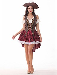 cheap -Sexy Uniforms Dress Party Costume Masquerade Women's Costume Red Vintage Cosplay Short Sleeve Short / Mini