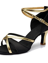 cheap -Women's Dance Shoes Silk Latin Shoes / Salsa Shoes Heel High Heel Customizable Black / Practice / EU39
