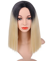 cheap -Synthetic Wig Straight Straight Bob Wig Blonde Short Black / Blonde Synthetic Hair Women's Dark Roots Blonde