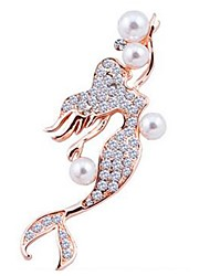 cheap -Women's Brooches Fish Princess Ladies Classic Imitation Pearl Imitation Diamond Brooch Jewelry Gold Silver For Daily