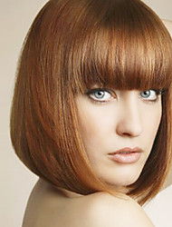 cheap -Synthetic Wig Straight Straight Bob With Bangs Wig Medium Length Light Brown Synthetic Hair Women's With Bangs Brown
