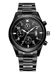 cheap -Men's Wrist Watch Quartz Stainless Steel Black Calendar / date / day Analog Casual Fashion - Black