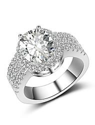 billige -Dame Band Ring Kvadratisk Zirconium Sølv Østrigsk krystal Sølv Elegant Vintage Bryllup Ceremoni Smykker / Forlovelse