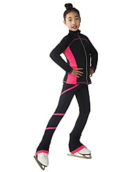 cheap -Figure Skating Jacket with Pants Women's Girls' Ice Skating Pants / Trousers Tracksuit Top Violet Red Pink Spandex Inelastic Training Competition Skating Wear Solid Colored Long Sleeve Ice Skating