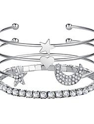 cheap -Women's Bracelet Bangles Tennis Bracelet Star Ladies Fashion Alloy Bracelet Jewelry Gold / Silver For Prom Date Promise