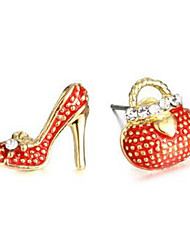 cheap -Women's Stud Earrings Mismatched High Heel Package Ladies Imitation Diamond Earrings Jewelry Red / Green For Daily 2pcs