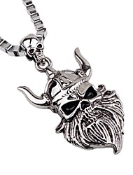 cheap -Men's Pendant Necklace Chain Necklace Engraved Skull Gothic Alloy Silver Necklace Jewelry One-piece Suit For Party Going out Cosplay Costumes