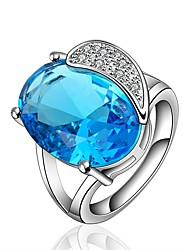 cheap -Women's Band Ring Cubic Zirconia Synthetic Sapphire One-piece Suit Blue Zircon Gold Plated Circle Geometric Classic Vintage Fashion Wedding Engagement Jewelry Drop