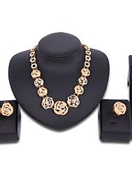 cheap -Women's Cubic Zirconia Jewelry Set Flower Statement Oversized Zircon Gold Plated Earrings Jewelry Gold For Wedding Party