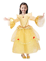 cheap -Princess Fairytale Belle Dress Party Costume Kid's Ball Gown Slip Dresses Birthday Christmas Halloween Masquerade Festival / Holiday Tulle Yellow Carnival Costumes Solid Colored Color Block Adorable
