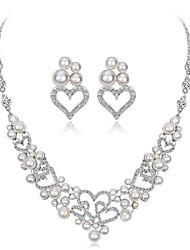 cheap -Women's Cubic Zirconia Jewelry Set Heart Flower Elegant Imitation Pearl Zircon Silver Plated Earrings Jewelry Silver For Wedding Evening Party