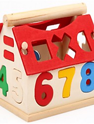 cheap -Building Blocks Educational Toy Math Toy Wooden Upright Design Novelty Characters Houses Artistic Style Kid's Toy Gift