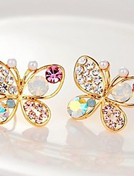 cheap -Women's Synthetic Diamond Stud Earrings Butterfly Animal Sweet Imitation Diamond Earrings Jewelry Gold For Daily 2pcs