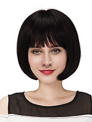 cheap -Human Hair Wig Medium Length Straight Straight Natural Hairline Machine Made Women's Black#1B Medium Auburn Strawberry Blonde / Light Blonde 12 inch