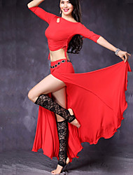 cheap -Belly Dance Outfits Women's Performance Modal Split Bandage Half Sleeves Dropped Skirts Top