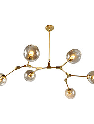 cheap -6-Light 6-Head Northern Europe Vintage Golden Chandelier Glass Molecules Pendant Lights Living Room Dining Room Painted Finish