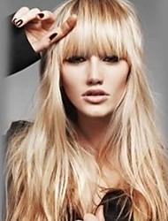 cheap -Human Hair Blend Wig Long Wavy kinky Straight With Bangs kinky straight Wavy Natural Hairline With Bangs Machine Made Women's Natural Black #1B Medium Auburn#30 Beige Blonde / Bleached Blonde 24 inch