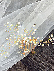 cheap -One-tier Stylish Wedding Veil Fingertip Veils with Faux Pearl / Crystals / Rhinestones Tulle / Classic