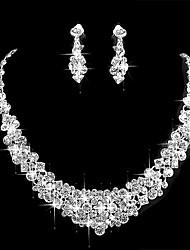 cheap -Women's Cubic Zirconia Jewelry Set Simple Earrings Jewelry Silver For Wedding Party
