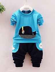 cheap -Toddler Boys' Casual Street chic Punk & Gothic Daily Going out Cartoon Long Sleeve Regular Regular Cotton Clothing Set Green