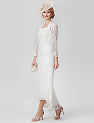 cheap -A-Line Scoop Neck Asymmetrical All Over Lace Sleeveless Plus Size / See Through / Elegant Mother of the Bride Dress with Appliques 2020