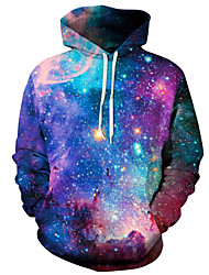 cheap -Men's Plus Size Active Long Sleeve Hoodie - Galaxy / 3D Hooded Purple XL / Spring / Winter