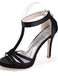 cheap -Women's Sandals Stiletto Heel Open Toe Satin Basic Pump Spring / Summer Black / White / Purple / Party & Evening / Party & Evening