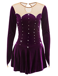 cheap -21Grams Figure Skating Dress Women's Girls' Ice Skating Dress Purple Velvet Competition Skating Wear Handmade Classic Long Sleeve Ice Skating Figure Skating